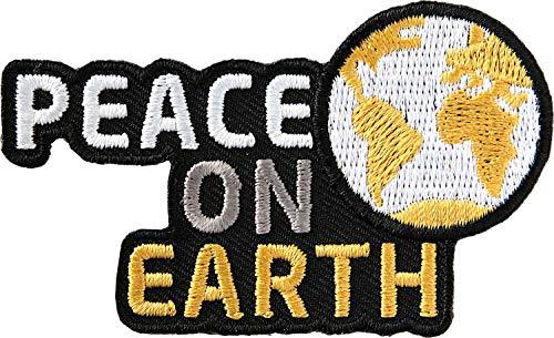 2 x Peace on Earth Abzeichen 72 x 44 mm gestickt / Aufnäher Aufbügeln Sticker Button Patch / Friede Frieden Weltfrieden Freiheit Militär Krieg Waffen Atom Religion Glaube Kirche Macht Politik NGO Botschaft Usa