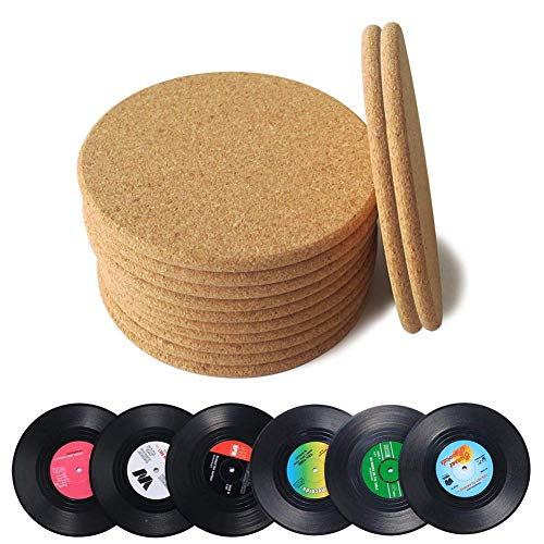 H.Yue Natural Cork Coasters Set,Round Corkboard with Vinyl Record Disk Coasters 18 Pack, Reusable Saucers for Cold Drinks, Wine Glasses, Cups & Mugs Cork Coaster Set