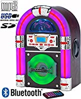 Mini Jukebox (COLOUR CHANGING Light Tubes) Table Top - CD Player - Bluetooth (Plays music from MP3 players, iPod, iPhone, Smart Mobile Phones etc) - AM & FM Radio - Mains Electric - Real Wood Veneer (inc Remote Control & Battery) �?? Jive Rock SIXTY by St