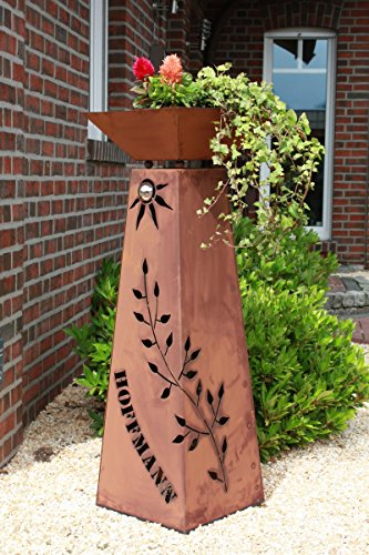Jabo Design Rost Säule + Schale konisch RS73+S11 IHR EIGENER NAME Garten Rostsäulen Blumensäule/Deko Rostsäule
