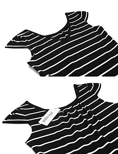 Meaneor Damen Casual Sommerkleider Gestreiftes Kleid Freizeitkleid Strandkleid Stretch Rundhals Kurzarm Knielang enges Kleid in 4 Farben Schwarz