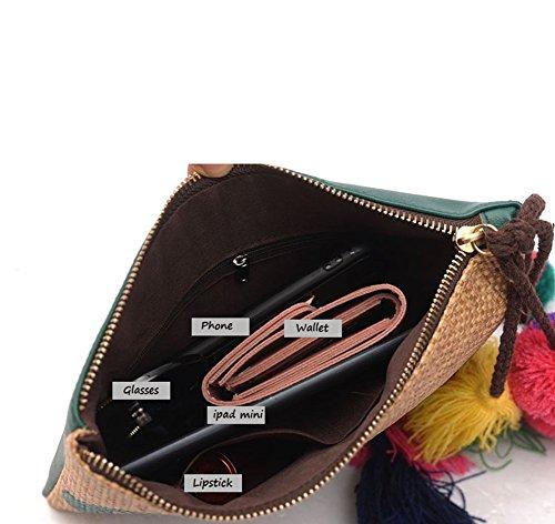 YOUJIA Damen Pu-Leder Stroh Clutches Geldbörse Strandtaschen mit Quaste Gedruckt