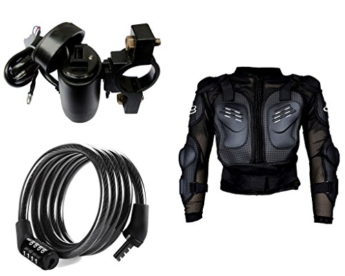 Auto Pearl Premium Quality Bike Accessories Combo of Premium Quality Bike USB Charger For Mobile/Tablet. & Cable Lock For Bicycle/Bike/Helmet/Luggage etc. & Fox Riding Gear Body Armor Protective Jacket For Bike - Black -Large.  available at amazon for Rs.1812
