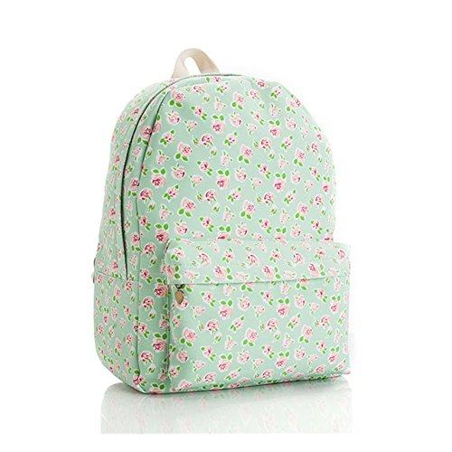 Lawevan Es Taschen Kollektion Damen Damen Land-Art-Rucksäcke Schultaschen Green Flower