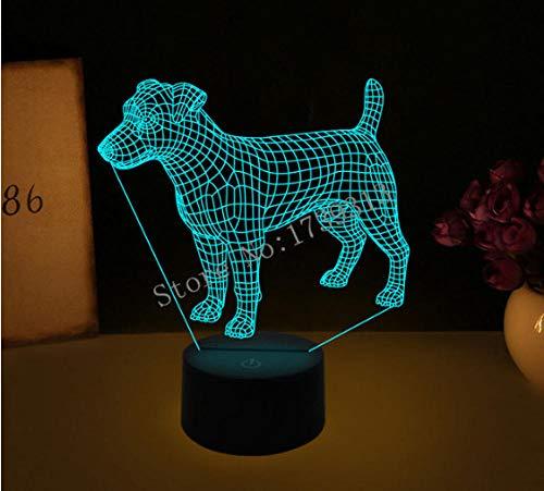 LULO 3D Visual Illusion Lampe Bulldog Pudel Jack Russell Terrier Rottweiler Dobermann LED Nachtlicht Dog Style Schreibtischleuchte-C -