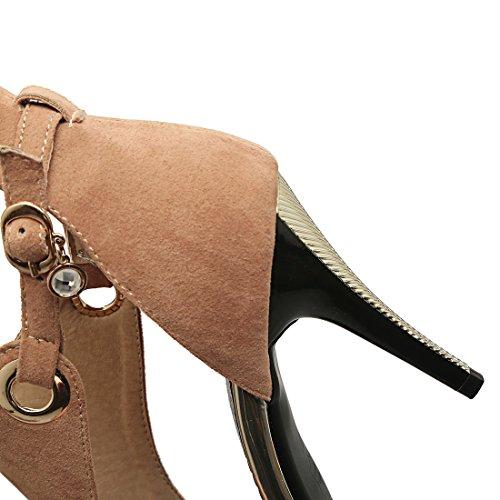 YE Damen Wildleder Peep Toe Stiletto High Heel Sandalen mit 10cm Absatz Elegant Party Schuhe Gelb