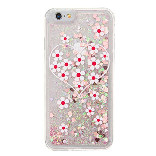 Nutbro iPhone 7 Plus Case,iPhone 7 Plus Liquid Quicksand Moving Stars Bling Glitter Floating Dynamic Flowing Love Heart Clear Soft TPU Protective Cover for iPhone 7 Plus YB-7-Plus-282