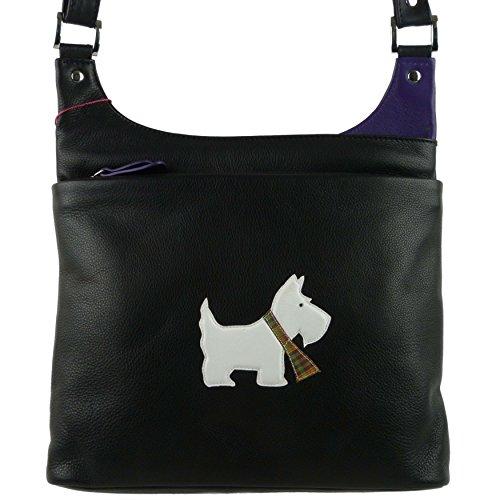 Mala Leather , Sac bandoulière pour femme Noir violet moyen noir