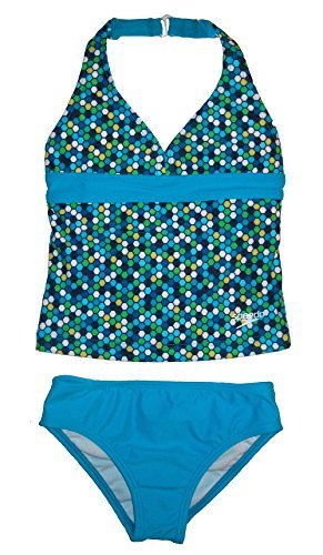 Speedo Girl's Geometric Halter Tankini 2 Piece Swimsuit Blue Size 5 (Piece Two Swimsuit Tankini)