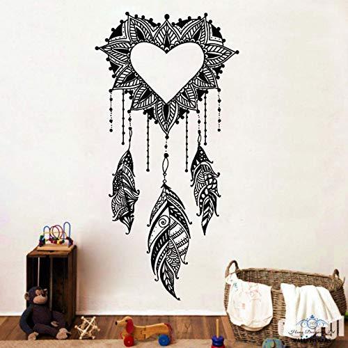 Adhesivos de Pared de Vinilo atrapasueños en Forma de corazón Sala de Estar Dormitorio Bohemio Mural Negro 42x84cm