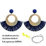 2018 Nuevo Zolimx Estilo de Apertura Gran Círculo Borla Cristal Colgante Pendientes Joyas de Moda (Azul)