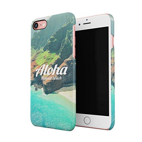 Aloha Hawaii Tropical Vibe Beach Ocean Sea Mountains Dünne Rückschale aus Hartplastik für iPhone 7 & iPhone 8 Handy Hülle Schutzhülle Slim Fit Case Cover