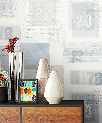 NEWROOM Tapete Beige Muster Schrift Grafik Papiertapete Blau Papier Moderne  Design Optik Tapete Inkl