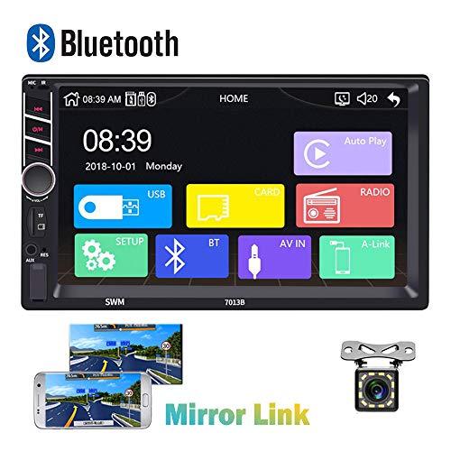 Bluetooth 2 Din Autoradio CAMECHO 7 Zoll kapazitiver Touchscreen Spiegel Link für IOS / Android Telefon FM Empfänger MP5 Auto Spieler USB SD AUX-in + Rückfahrkamera