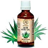 Huile d'Aloe Vera, pressée à froid et affiné, 100% naturel et pur 50 ml, Huile d'Aloe Vera, bouteille en verre, huile de base, Afrique du Sud, riche en rétinol, vitamine E, huile corporelle, soins intensifs pour le visage, le corps, les cheveux, la peau, les ongles, les mains, Anti-vieillissement pur avec huile essentielle / beauté / aromathérapie / détente / massage / bien-être / cosmétiques / soin du corps / relaxation / non dilué / épice qualité / inodore / médicament alternatif d'AROMATIKA