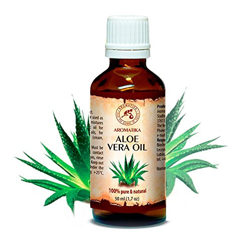 Aloe Vera Öl reines, 100% naturreines, 50 ml, Glasflasche, Aloe Vera-Öl Basisöl -Aloe Barbadensis, Brasilien, raffiniert, reich an Vitaminen A, B1, B2, B6 and B12, hat feuchtigkeitsspendende revitalisierende Eigenschaften, Intensive Pflege für Gesicht, Körper, Haare, Haut, Nägel, Hände, für Schönheit / Massage/ Wellness/ Kosmetik/ Körperpflege von AROMATIKA