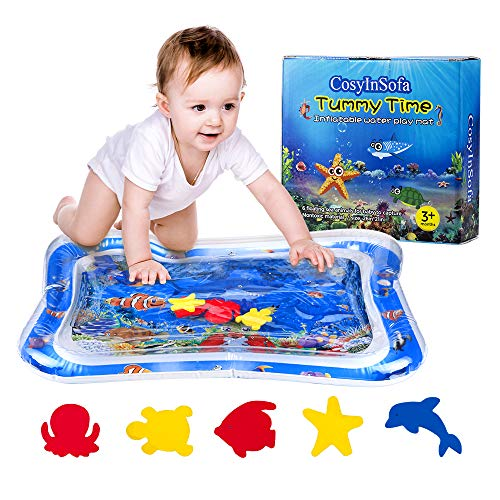 Aufblasbare Wasserspielmatte für Säuglinge und Kleinkinder Spaß Bauchzeit Spielaktivität Babyspielmatten Auslaufsicher BPA-frei Wassermatte Spielzeug für das Stimulationswachstum des Babys (Blau)