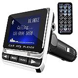 Transmisor FM, Tinzzi Bluetooth Transmisor para Coche, Transmisor con Micrófono reproductor mp3 Coche con Tarjeta TF Cargador USB y Control Remoto para Teléfonos / Tabletas /GPS /IPods /MP3 y más.