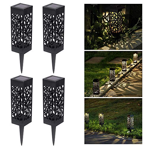Solarlampen für Außen Solarleuchte Garten LED Solar Gartenleuchte Dekoration für Terrasse Bahn Rasen Garten Patio Hinterhöfe Wege, Warmweiße (4 Stück)
