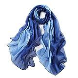 5 ALL Schlicht Leicht Seidenschal Stola aus Seide Halstücher für Sommer Abendkleider Bälle Party 15 Farben (Dunkel Blau)