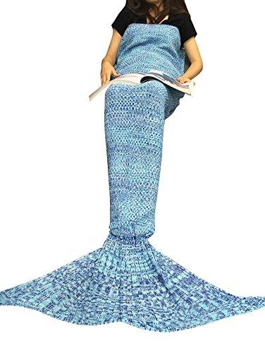 iiniim Meerjungfrau Schwanz Gestrickte Decke Schlafsack Blanket Decke für Mädchen Damen Blau 2 (Für Erwachsene)