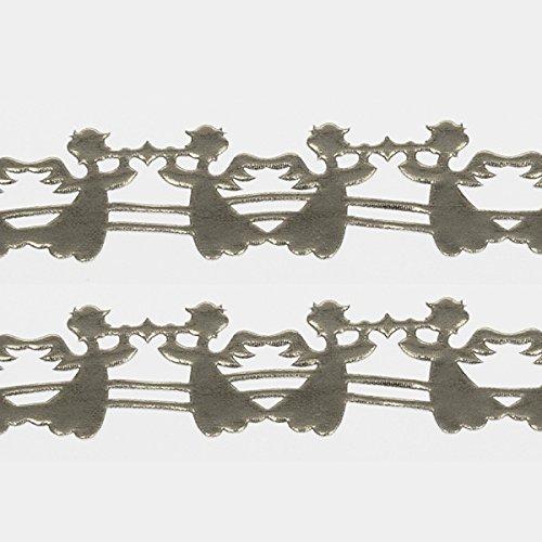 Engel mit Trompete Trompetenengel Engel Kartengestaltung Scrapbooking Weihnachten Weinachtskarten Weihnachtsdekoration SekleBo® Selbstklebende Bordüre - Engel Silber - 94510 25-R 10