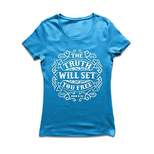 (Frauen T-Shirt Die Wahrheit Wird Dich befreien - Aktion ist der Beweis des Glaubens - christliche Geschenkideen - Ostern - Auferstehung - religiöse Kleidung (Medium Blau Mehrfarben))