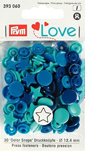 Prym 393060 Sternform Color snaps Prym Love Druckknopf Color KST 12,4mm blau/türkis/marine Sterne-snap