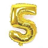 40 pulgadas Digital número 0 - 9 engrosamiento lámina de oro llenas de aire aluminio / hidrógeno / helio globos de Mylar para el día de la independencia cumpleaños aniversario de boda (número 5) UQ005