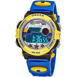 OHSEN Kids Wristwatch Cute Colorful Boys Girls Digital Backlight Watch Waterproof 1603 - Blue