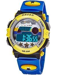 Niños Reloj De Iluminación LED Impermeable Fresco Electrónico Digital Con Alarma Cronómetro Estrella -Azul