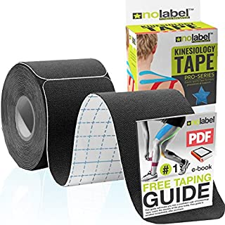 Black Pre Cut Kinesiology Tape - Pre-Cut Muscle Tape Sports Tape Strapping Kinesio Tape | Pro Tape 5m Medical Tape Roll No Label KTape H20 Tape 20 x Precut Physio Tape Muscles Strips | FREE PDF Ebook Taping Guide