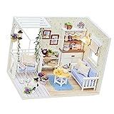 MagiDeal Holz Puppenhaus DIY Set - Miniatur Wohnzimmer mit Abdeckung und LED Leuchte DIY Puppenstube Set Geschenk Dekoration für Kinder und Freunde