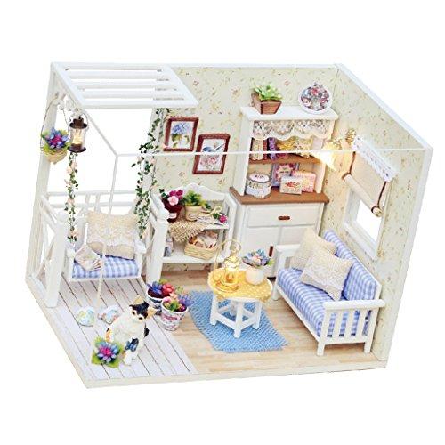 MagiDeal Holz Puppenhaus DIY Set - Miniatur Wohnzimmer mit Abdeckung und LED Leuchte DIY Puppenstube Set Geschenk Dekoration für Kinder und Freunde (Miniatur-licht-set)