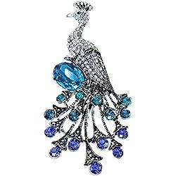 Alfredo Pauly Couture-Schmuck Damen-Brosche Pfau rhodiniert vintage-look Kristalle CZ blau türkis