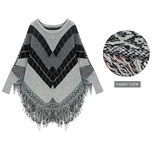 Maxquoia Pull Tricot Hiver Femme Chauve-souris Manche Col Rond Sweatshirt Pullover avec Frange Col Fond Gris
