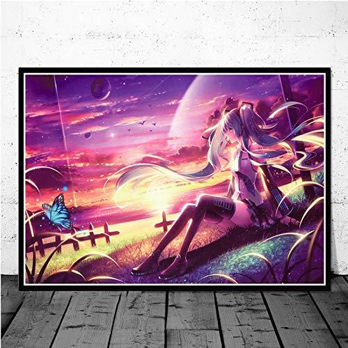 tzxdbh Kein Rahmen Poster Und Drucke Hatsune Miku Vocaloid Nette Reizende Mädchen Anime Kid Geschenk Wandkunst Leinwand Wandbilder Für Wohnzimmer Wohnkultur 50 * 70 cm