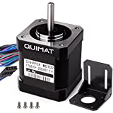 Quimat Nema 17 Stepper Motor Bipolar 2A 0.59Nm(84oz.in) 46mm Body 4-lead w/ 1m Cable & Connector and Mounting Bracket Kit for 3D Printer/CNC