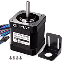 Quimat Nema 17 Schrittmotor Bipolar 2A 0.59Nm (84oz.in) 47mm Körper 4-Blei mit 1m Kabel & Stecker und Montage Halterung für 3D Drucker / CNC