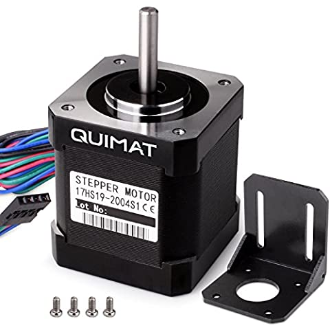 Quimat Nema 17 Schrittmotor Bipolar 2A 0,59Nm (84oz.in) 47mm Körper 4-Blei mit 1m Kabel & Stecker und Montage Halterung für 3D Drucker Printer / CNC