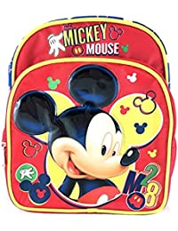 """New Disney Mickey Mouse 10"""" Toddler Canvas Red 3D School Backpack"""