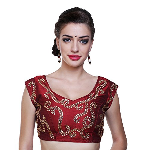Nishtha Creation Maroon Color Dupion Silk Fabric and Hand Work Readymade Designer...