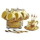 ufengke-ts Juego de 6 tazas de café de cerámica de porcelana marfil con plato y cuchara para regalo...