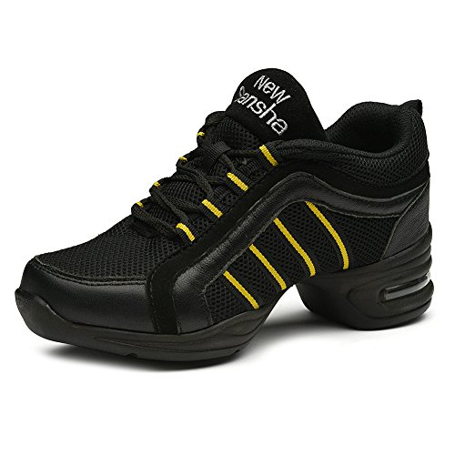 HROYL Femme/Homme Danse Sneaker Jazz Chaussures Modernes Aptitude Sport Chaussures de Danse Modèle T09 noir+or