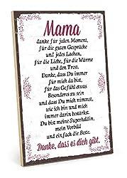 TypeStoff Holzschild mit Spruch - Danke Mama - im Vintage-Look mit Zitat als Geschenk und Dekoration zum Thema Liebe, Mutter und Familie (19,5 x 28,2 cm)