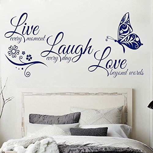 JXFFF Text Index Sprache Live Lachen Liebe Schmetterling Blume Wandkunst Aufkleber Vinyl Wandaufkleber für Wohnzimmer Wohnkultur 95x41 cm (Index Karten Baby)