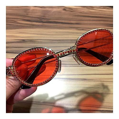 Blu-Ray Pretection Retro Runde Sonnenbrille Damen Vintage Steampunk Sonnenbrille Herren Klare Linse Strass Sonnenbrille Oculos (Lenses Color : Purple)