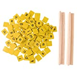 #3: Phenovo 100 Pack Wooden Yellow Alphabet Tiles Mix Lowercase Letters for Board Game Fun Toy Gift