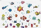 Kibi Fische Abenteuer Auf See Meerestiere Wandtattoo Fische Wandsticker Kinderzimmer Fische Meer Wandaufkleber Kinderzimmer Fische Maritim Wohnzimmer Schlafzimmer Badezimmer 60 (W) x 90 (H) CM