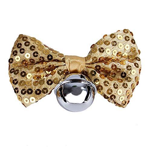 Verstellbare Pet Bow Kragen Pailletten Bowknot Bell Blau Gelb Schwarz Rot Silber Verstellbare Pet Bow Tie (Schwarz Tie Und Bow Silber)